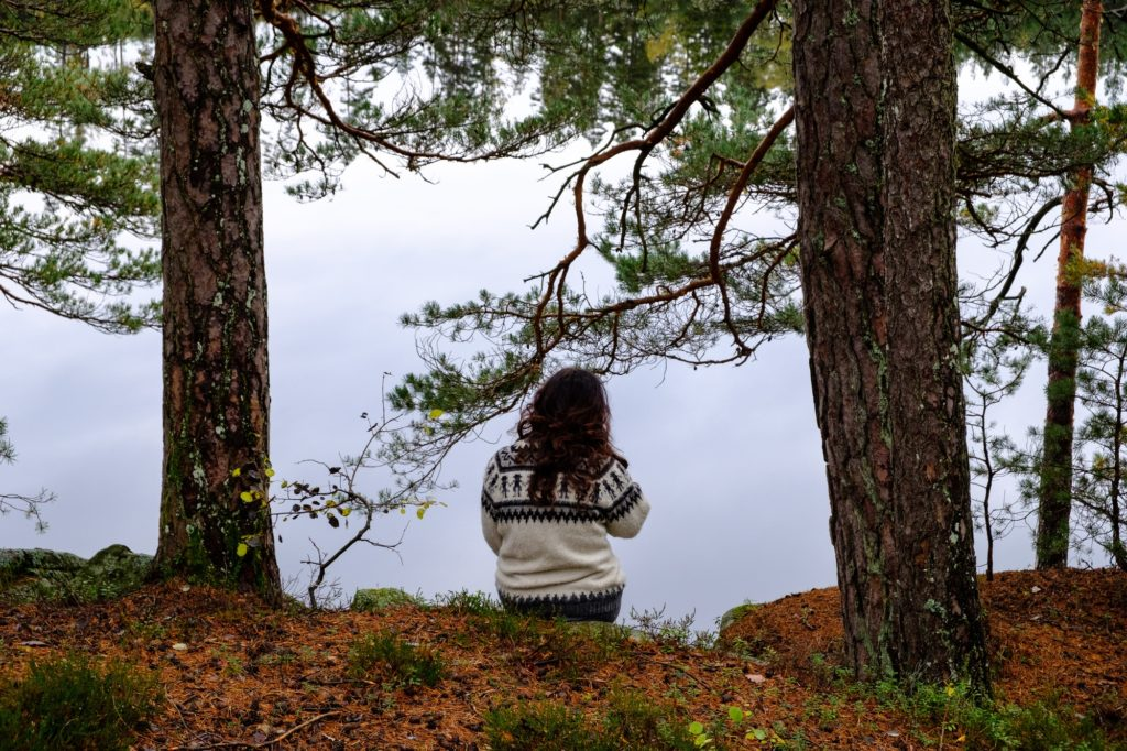 Mindful woman in forest