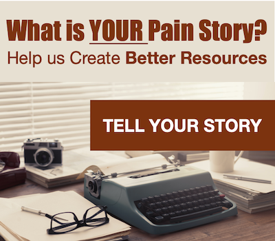 desk with typewriter and text that says what is your pain story text - Tell your story