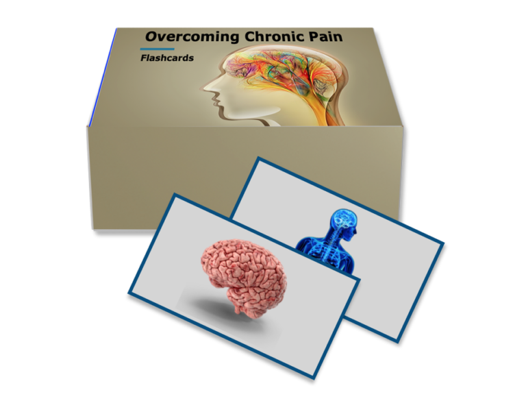 Box with flashcards for overcoming chronic pain